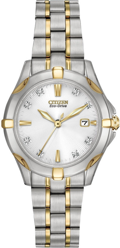 Diamond Accent Dial Analog Two-Tone Stainless Steel Women's Watch EW1934-59A
