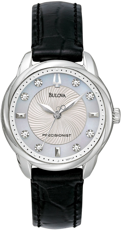 Brightwater Precisionist Diamond Accented MOP Dial Black Leather Strap Women's Watch 96P124