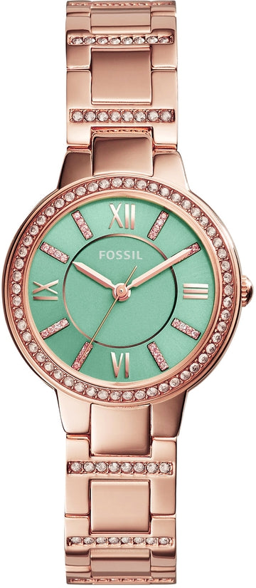ES3652 Virginia Green Dial Rose Gold Tone Stainless Steel Strap Women's Watch