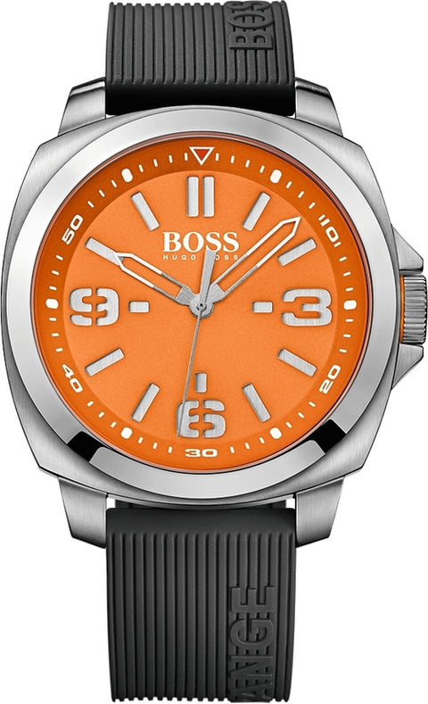 Brisbane Men's Black Silicone Orange Dial
