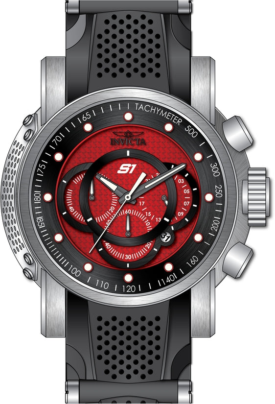 S1 Rally Men's Polyurethane/Stainless Steel Red Dial