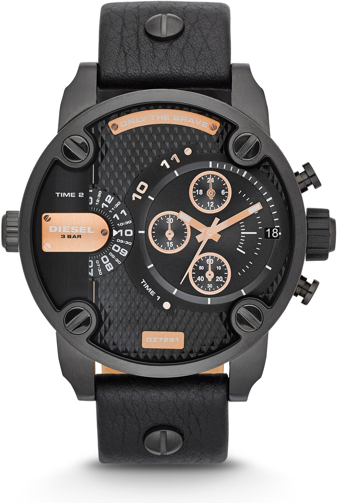 DZ7291 Little Daddy Chronograph Gold Accent Black Leather Mens Watch