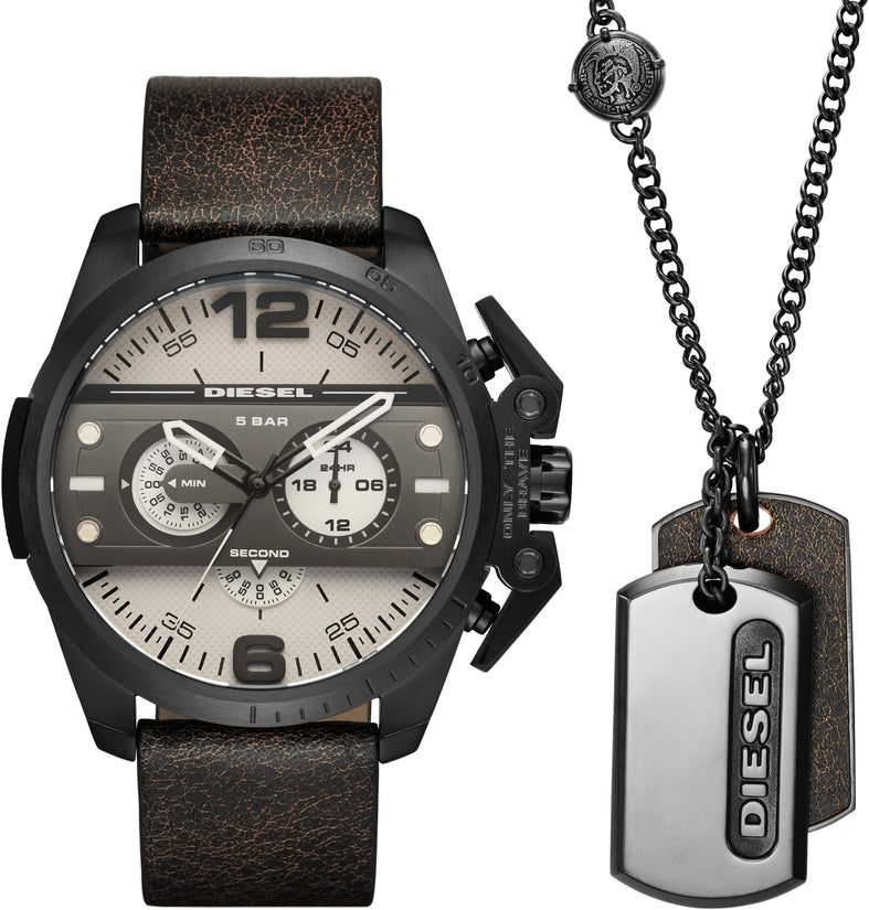 Ironside Black Leather Watch & Dog Tag Set