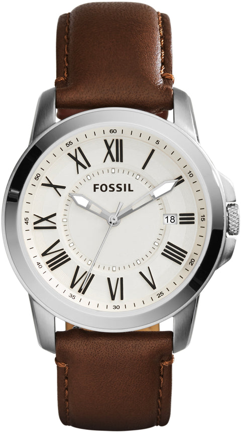 FS4964 Grant White Dial Brown Leather Strap Men's Watch