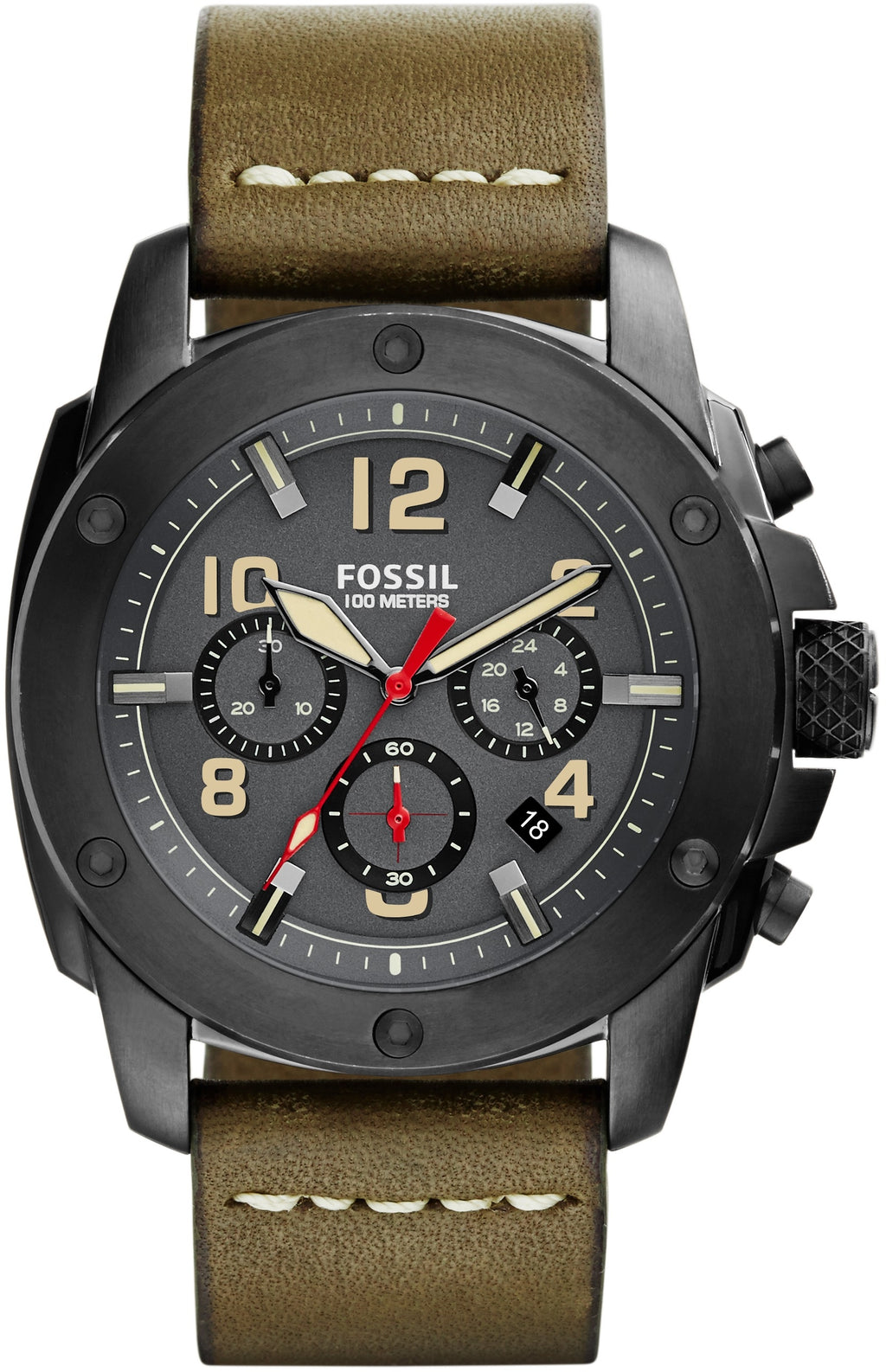 Modern Machine Chronograph Gunmetal Dial Green Leather