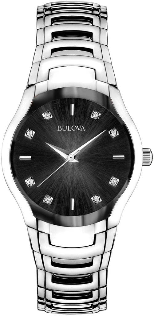 Diamond Black Dial Stainless Steel Womens Watch 96P146