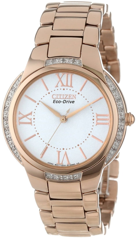 EM0093-59A Ciena White Dial Rose Gold Tone Stainless Steel Strap Women's Watch