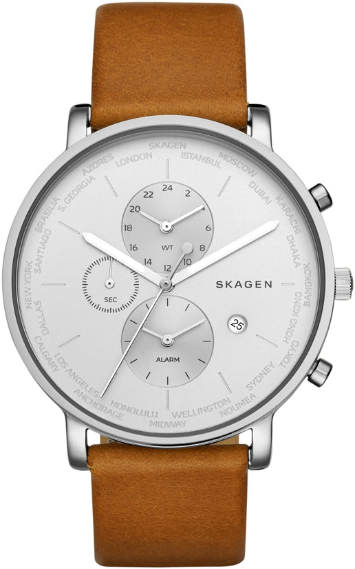 Hagen World Time & Alarm Brown Leather