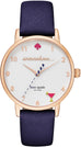 Metro 5 O'Clock White Dial Navy Leather