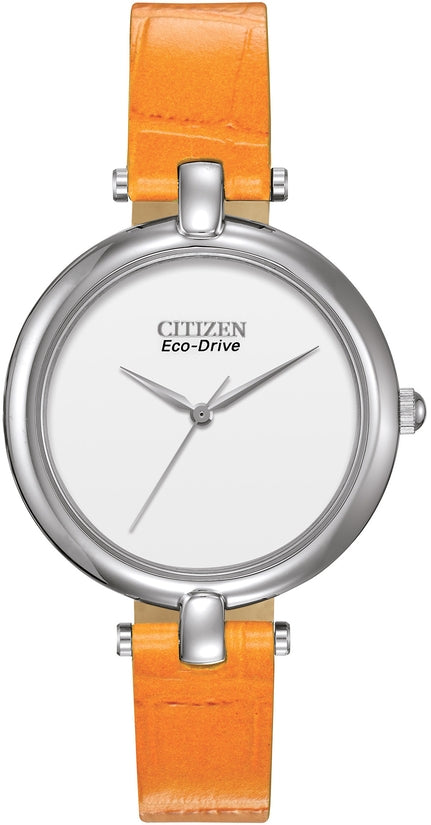 Silhouette White Dial Analog Orange Leather Strap Women's Watch EM0250-01A