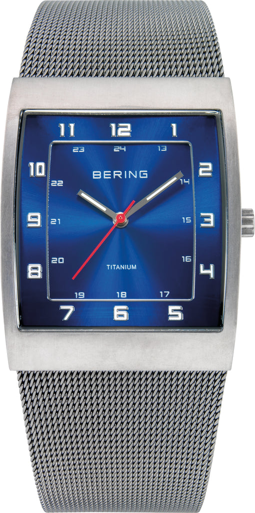 Men's Silver-Tone Stainless Steel Blue Dial
