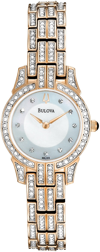 Crystal Accented MOP Dial Rose-Gold Tone Stainless Steel Women's Watch 98L155