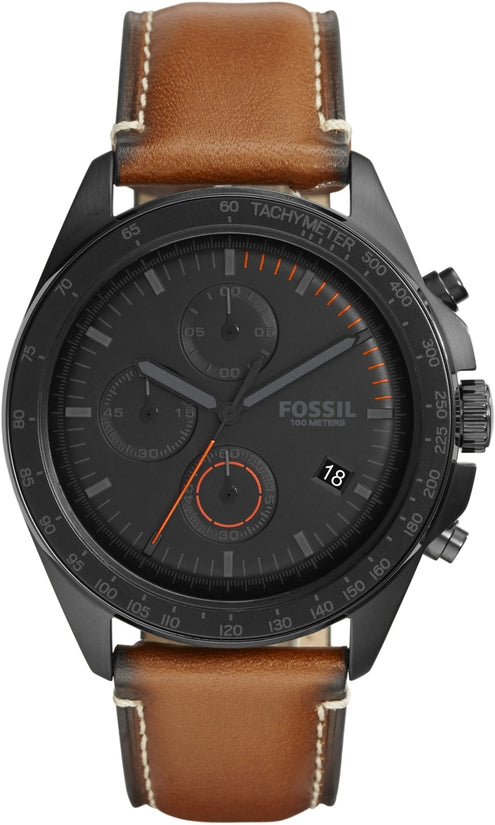 Sport 54 Chronograph Black Dial Brown Leather
