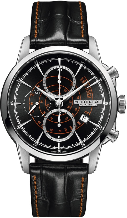 American Classic Men's Black Leather Strap Black Dial