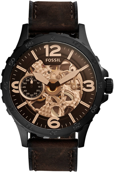 Nate Automatic Gray Dial Black Leather