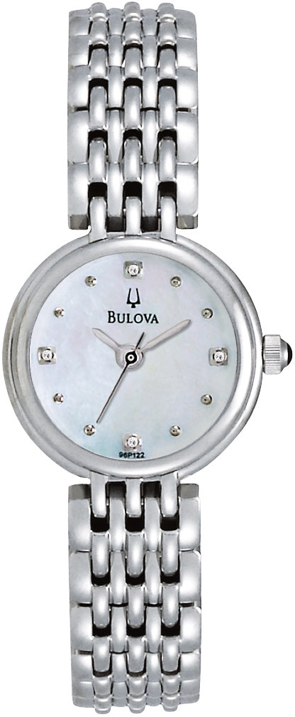 Diamond Accented White MOP Dial Stainless Steel Women's Watch 96P122