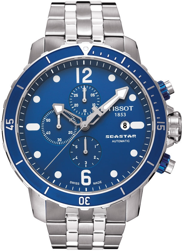 e7fe5d3a0 Tissot Seastar Men's Automatic Chronograph Blue Dial Watch with Stainless  Steel Bracelet