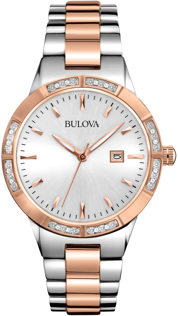 Diamond White Dial Silver & Rose Gold Tone