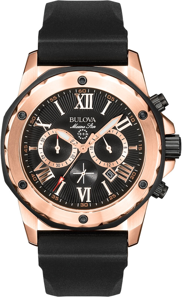 Marine Star Chronograph Black Rubber Rose Gold Tone