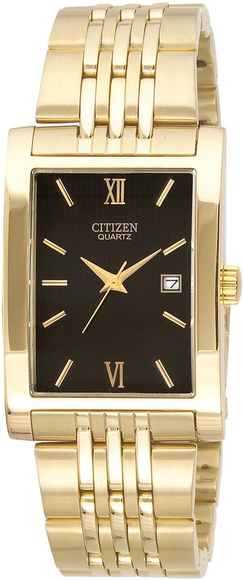 Rectangular Black Dial Gold Tone Stainless Steel Mens Watch BH1372-56E