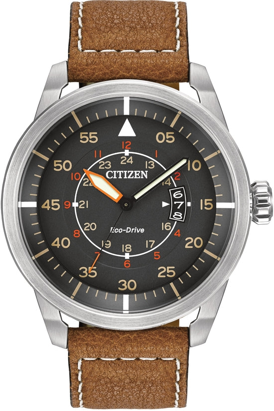 Avion Gray Dial Brown Leather