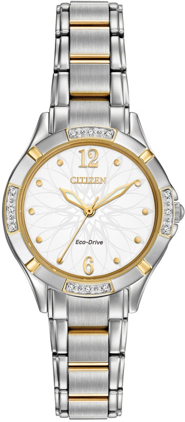 Diamond Two Tone White Flower Dial 12 Diamonds