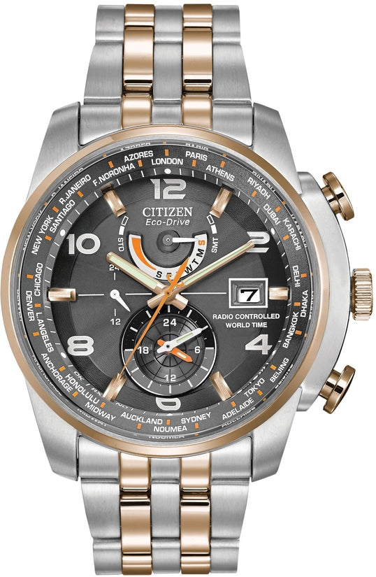 World Time A-T Silver & Rose Gold Tone