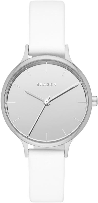 Anita Gray Dial White Leather