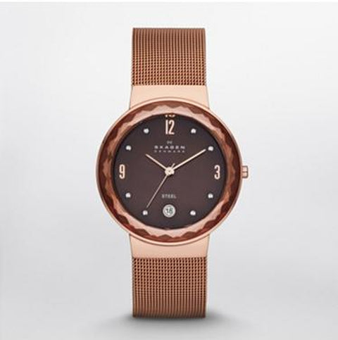 SKW2068 Leonora Brown Dial Rose Gold Tone Stainless Steel Strap Women's Watch