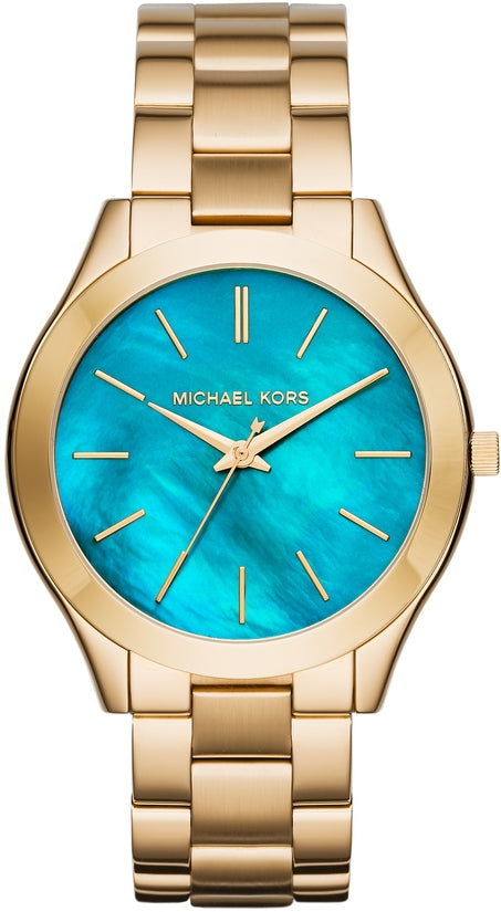 Slim Runway Blue Dial Gold Tone