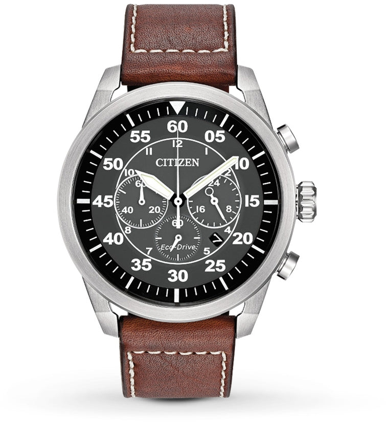 Avion Black Dial Brown Leather