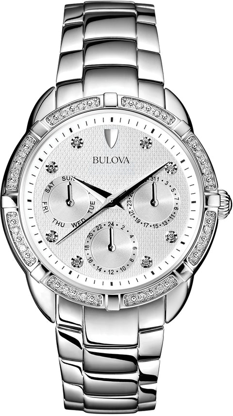 Maribor Multifunction Diamond Accented Silver Dial Stainless Steel Women's Watch 96R195