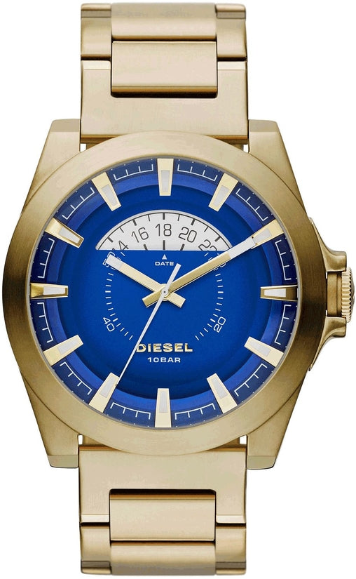 DZ1663 Arges Blue Dial Gold Tone Stainless Steel Strap Men's Watch
