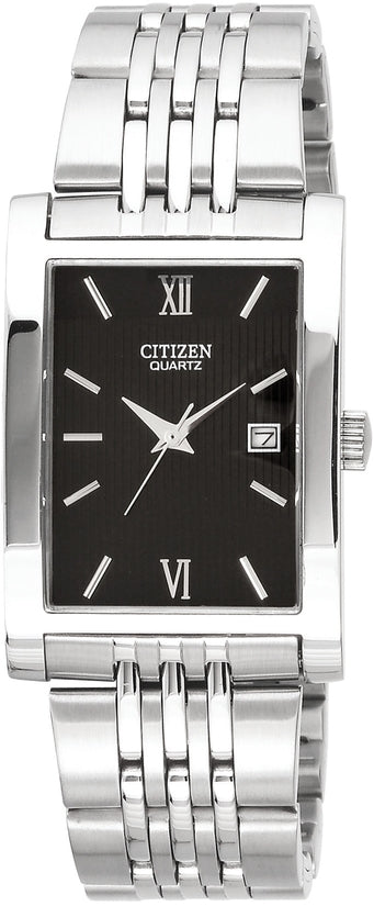 Rectangular Black Dial Stainless Steel Mens Watch BH1370-51E