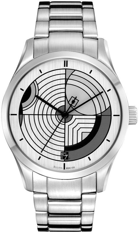 Frank Lloyd Wright Hoffman House Rug Stainless Steel Mens Watch 96A130