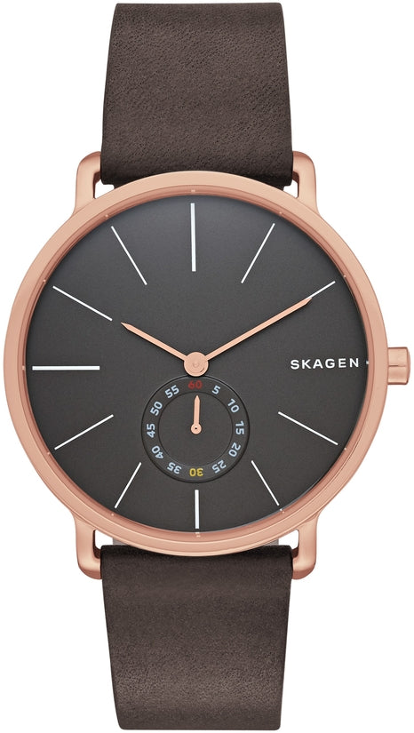 Hagen Black Dial Brown Leather