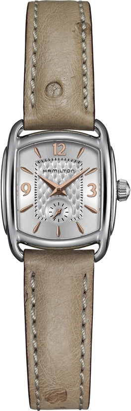 Timeless Classic Women's Beige Ostrich Leather Strap Silver Dial