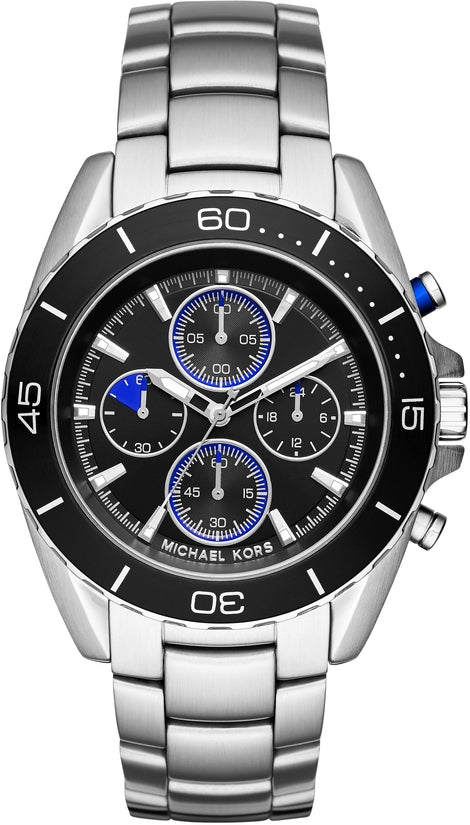 Jetmaster Chronograph Black Dial Silver Tone
