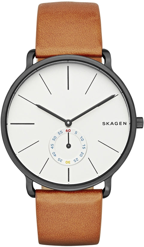 Hagen White Dial Brown Leather
