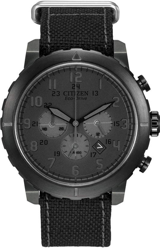 Chronograph Military Black Nylon Strap Mens Watch CA4098-06E