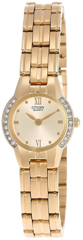 Gold Tone Swarovski Analog Stainless Steel Womens Watch EK1162-55P
