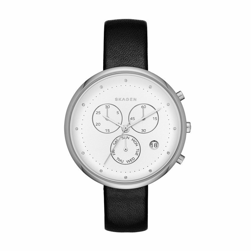 Gitte Multifunction Chronograph Black Leather