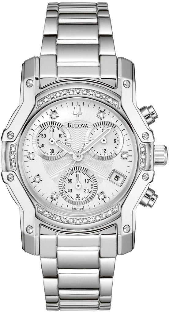 Wintermoor Chronograph Diamond Accented Silver Dial Stainless Steel Women's Watch 96R138