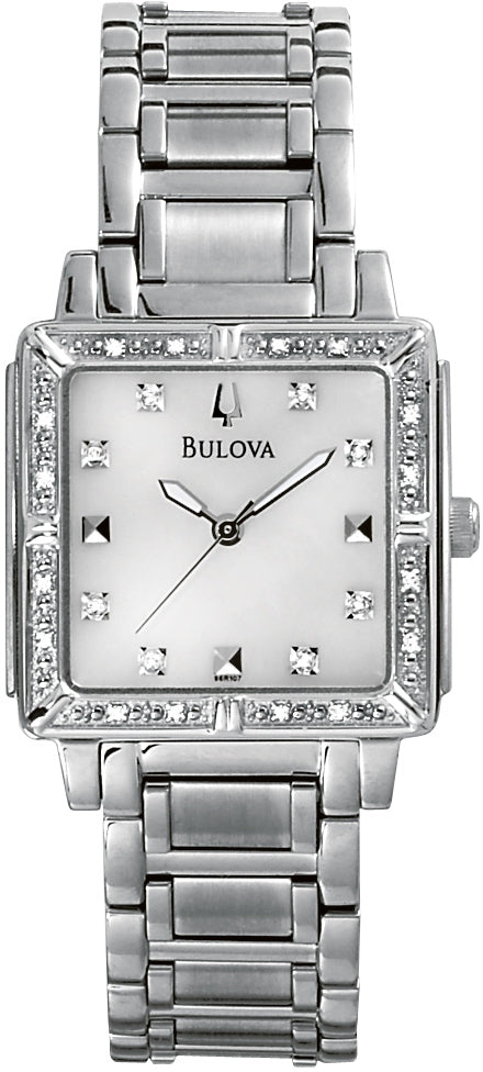 Rectangular Analog Diamond Accented MOP Dial Stainless Steel Women's Watch 96R107