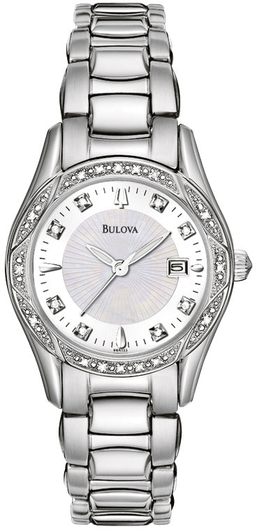 Diamond Accented Silver Dial Stainless Steel Women's Watch 96R133