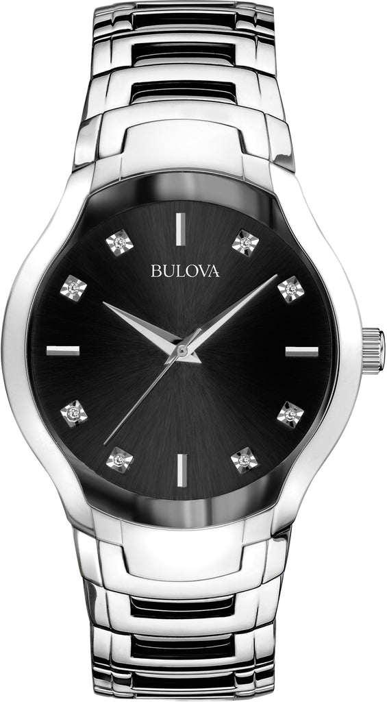 Black Diamond Dial Stainless Steel Mens Watch 96D117