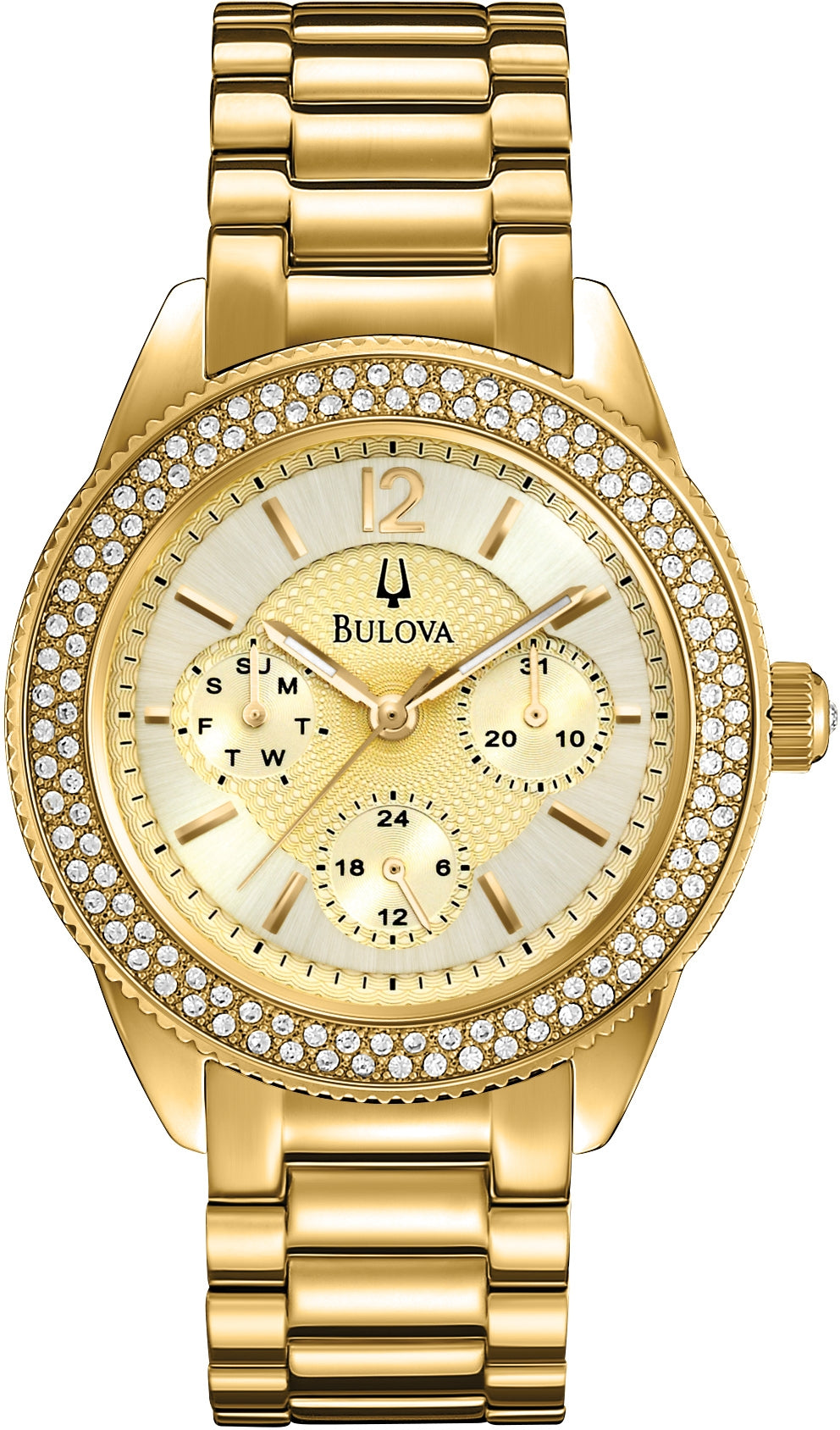 Crystal Accented Multifunction Gold Dial Stainless Steel Women's Watch 97N102
