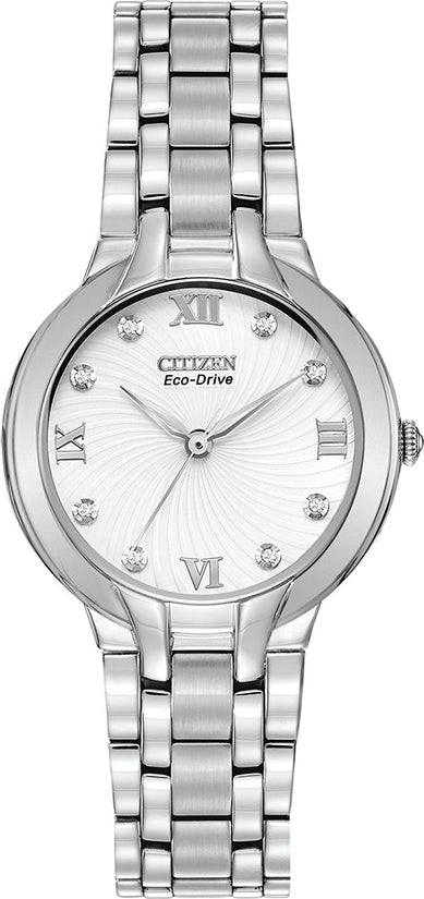 EM0130-54A Bella White Dial Stainless Steel Strap Women's Watch