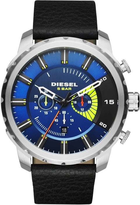 Stronghold Chronograph Blue Dial Black Leather