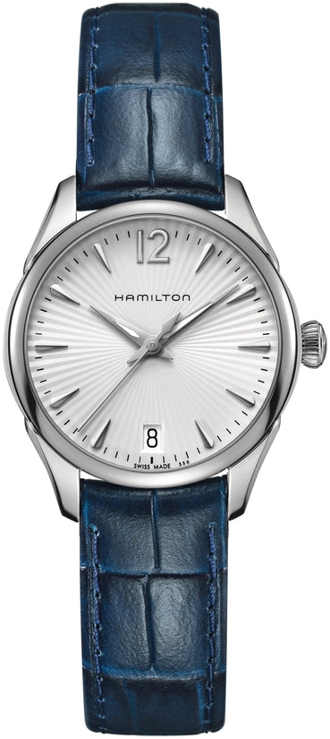 Jazzmaster Women's Blue Leather Strap Silver Dial